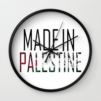 palestine Wall Clocks featuring Made In Palestine by VirgoSpice