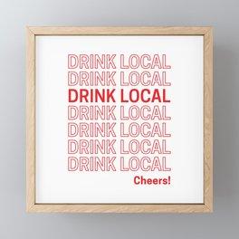 Drink Local (Bodega Bag Repeat) Framed Mini Art Print