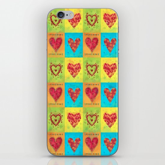 Colorful hearts pattern iPhone Skin