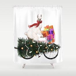 Llama Bringing Home Christmas Tree Shower Curtain