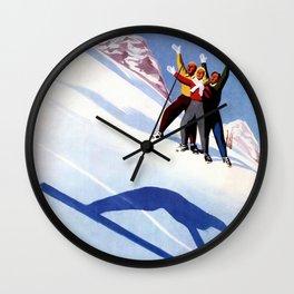 Aosta Valley winter sports Wall Clock
