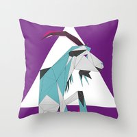 goat Throw Pillows featuring Goat by Sudário