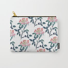 Hand Painted Watercolor Wild Rose Flower Carry-All Pouch