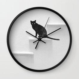 Black cat on steps Wall Clock