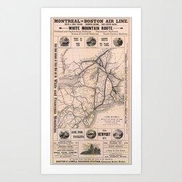 Vintage Boston and Montreal Railroad Map (1887) Art Print