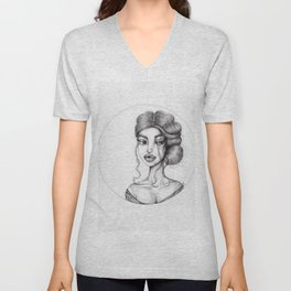 JennyMannoArt Graphite Drawing/Nora Unisex V-Neck