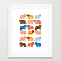 lions Framed Art Prints featuring Lions  by Claire Brown Surface Pattern