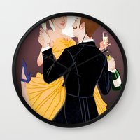 valentines Wall Clocks featuring Valentines by Jon Suguiyama