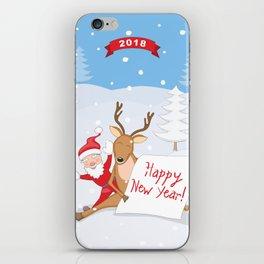 new year santa and deer iPhone Skin