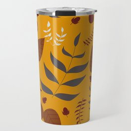 Autumn leaves and acorns - ochre and brown Travel Mug