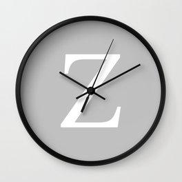 Silver Gray Basic Monogram Z Wall Clock