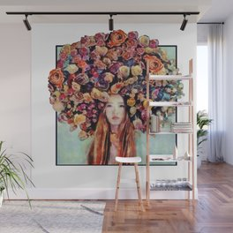Flower Head Girl Design Wall Mural