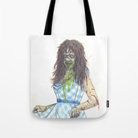 three of the possessed Tote Bags featuring Regan (Possessed) by Monsters in Plaid