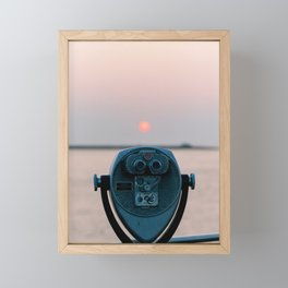 Beach viewfinder with the rising sun Framed Mini Art Print