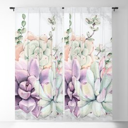 Succulents Mint and Purple Marble by Nature Magick Blackout Curtain
