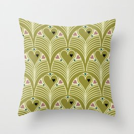 Heart Deco in Olive Throw Pillow