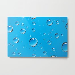 Water Droplets On Blue Metal Print