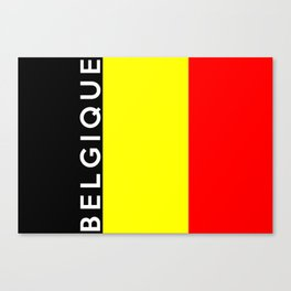 belgium country flag belgique name text Canvas Print