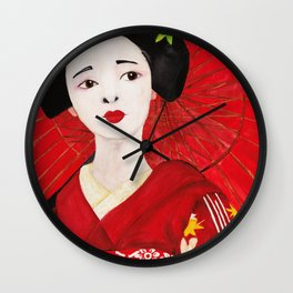 Red Japanese lady Wall Clock