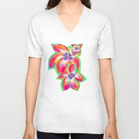 hibiscus V-neck T-shirts featuring Hibiscus by Teri Newberry