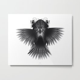 Strange Hummingbird 1.Black on white background. Metal Print