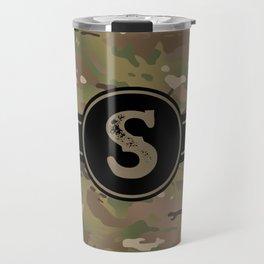 Camouflage Monogram: Letter S Travel Mug
