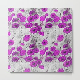 black white pink splash flowers Metal Print