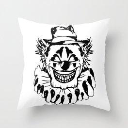 Black and white Evil Clown Throw Pillow