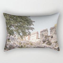 Floral Boho Garden | Medieval Castle Wall Light Purple Baby Blue Sky Moody Botanical Earthy Natural Rectangular Pillow