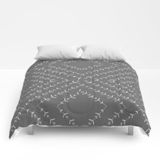 Gray and white varied vines Comforters