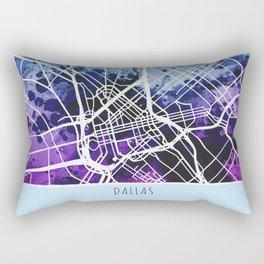 Dallas City Map / Blue Rectangular Pillow