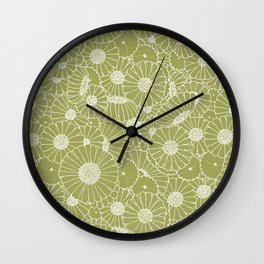 Floral Bunch Green Wall Clock