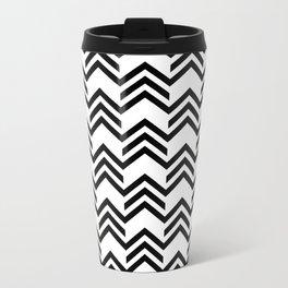 Broken Chevrons Black and White Metal Travel Mug