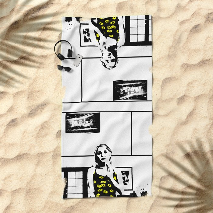 Sunflower Girl Beach Towel