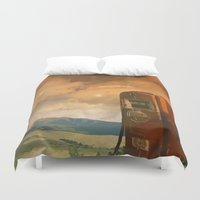 pocket fuel Duvet Covers featuring old fuel pump by Cenk Cansever