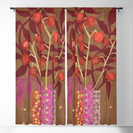 Chinese Lanterns, Physalis, Paper Collage Papercut Autumn Flowers Abstract Floral Blackout Curtain