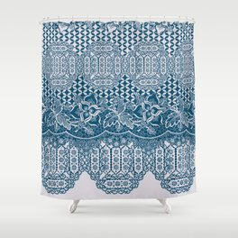 lace border with floral and geo in teal Shower Curtain