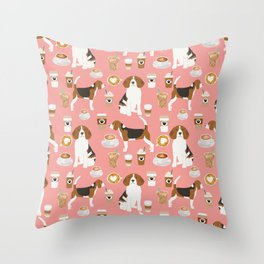 Beagle coffee dog breed gifts pupuccino dog lover beagles pure breed Throw Pillow