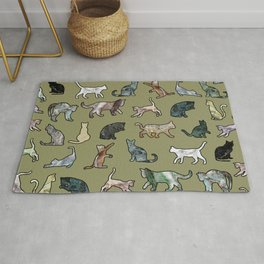 Cats Shapes Marble - Olive Green Rug