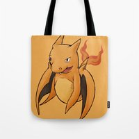 charizard Tote Bags featuring Charizard Whale by CoolBreezDesigns