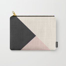Geometrical coral ivory black modern color block Carry-All Pouch