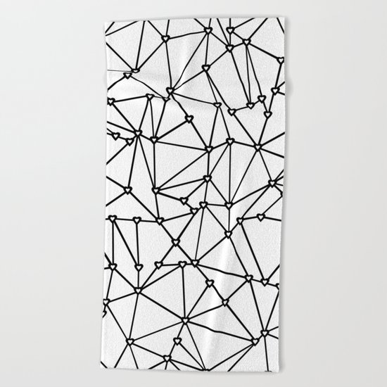Abstract Heart Black on White Beach Towel