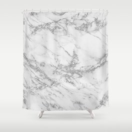Elegant chic white gray silver glitter marble Shower Curtain