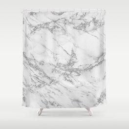 Elegant chic white gray silver glitter marble Shower Curtain