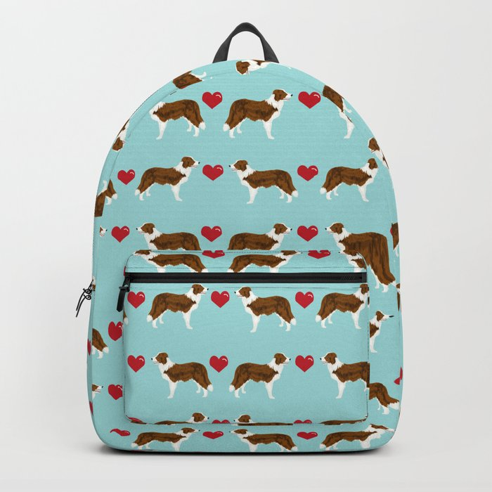 Border Collie red coat love hearts dog breed gifts collie dog patterns Rucksack