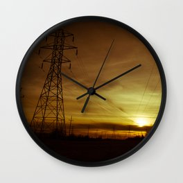Sun Setting on Power Lines Wall Clock