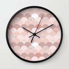 Blush chic pink faux rose gold glitter elegant scallop Wall Clock