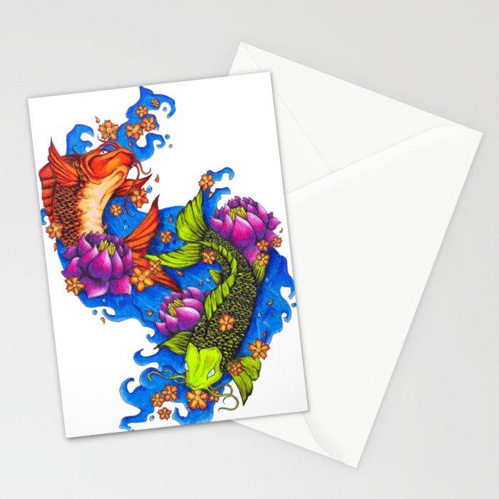 Koi Fish Stationery Cards