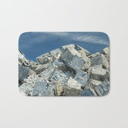 Aluminium Cubes with blue sky Bath Mat