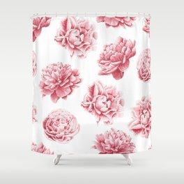 Pink Rose Garden on White Shower Curtain